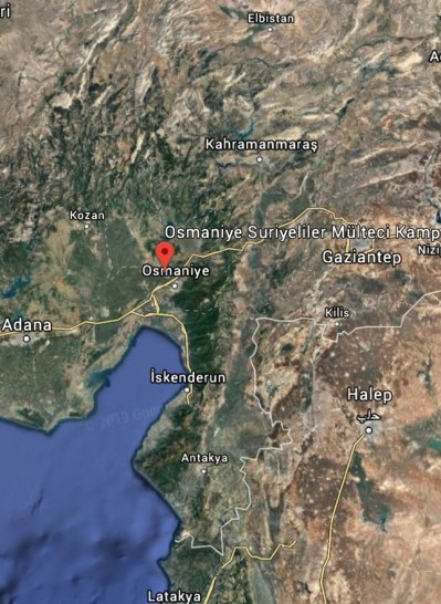 Location of refugee camp in Cevdetiye, Osmaniye province (Google Map)